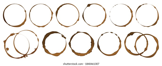 Coffee cup stain. Realistic tea isolated circles on white background, brown drink, cappuccino or espresso coffee round marks, spilled dark liquid. Vector set of decorative elements for restaurant menu