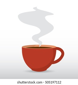 Coffee cup with steam, vector flat design object