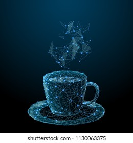 Coffee cup. Tea cup. Vector polygonal image in the form of a starry sky or space, consisting of points, lines, and shapes in the form of stars with destruct shapes.
