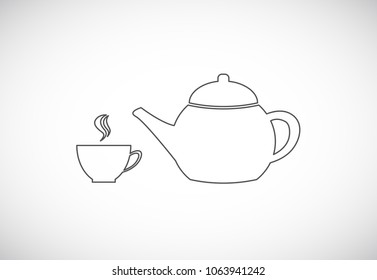coffee cup and teapot outline icon