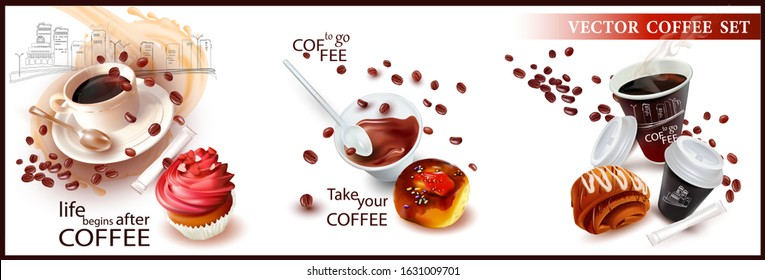 Coffee in a Cup with a teaspoon. Falling Coffee Beans.Coffee to go.Bag of sugar. Sweet Muffin. Roll with  icing.Fast food in a disposable Cup.Pastry. Poppy seed bun.Vector Set.