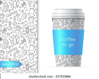 Coffee cup template illustration with the sweet and fun party pattern design which includes sweets, coffee cups and inventory.