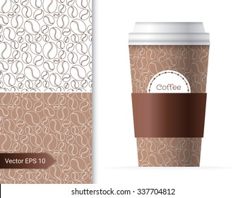 Coffee cup template illustration with the two coffee bean patterns design in brown and chocolate color.