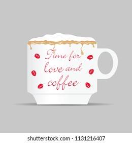 coffee cup with time for love on it illustration in colorful