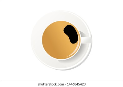 Coffee cup top view isolated on white background. Design by Inkscape