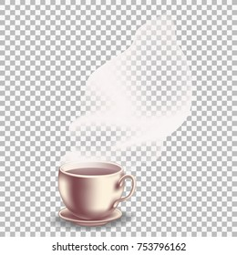 Coffee cup with translucent vapor. The rising steam. Transparent effect on the plaid background. Vector illustration EPS-10.