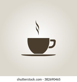 Coffee cup vector flat icon. Tea cup. Brown coffee cup sign on milk background.