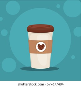 Coffee cup vector. Coffee to go illustration. Plastic Coffee cup in flat style