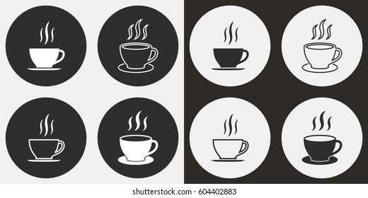 Coffee cup vector icons set. Illustration isolated for graphic and web design.