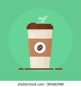 Coffee cup vector illustration isolated on background. Plastic coffee cup with hot coffee in flat style.