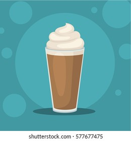Coffee cup vector. Coffee latte illustration. Coffee latte in flat style