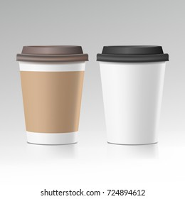 Coffee Cup Vector. Take Away Cafe Coffee Cup Mockup. Isolated Illustration