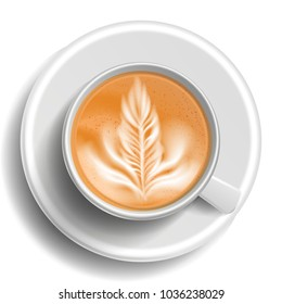 Coffee Cup Vector. Top View. Hot Cappuchino Coffee. Milk, Espresso. Fast Food Cup Beverage. White Mug. Realistic Isolated Illustration