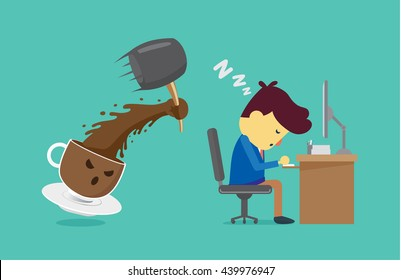 Coffee cup will wake worker up with use hammer smash. This illustration about coffee will wake you up for work and other.