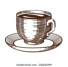 Coffee cup woodcut. Isolated cup and saucer ink drawing etching imitation. Contrast gravure. Design element. Isolated on white background. Vector file is EPS8.