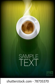 Coffee cup with world map on green background, top view. Eps10 vector