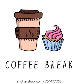 Coffee and Cupcake Doodle Colorful Vector Illustration with Phrase Coffee Break Handwritten