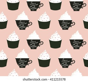 Coffee and cupcakes. Seamless pattern with cute cupcakes and coffee cups.  All elements are  hidden under mask. Pattern are not cropped and can be edited. Cute vector illustration. Sweets.