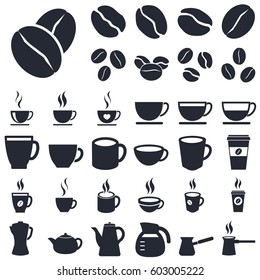 coffee cups and beans icons