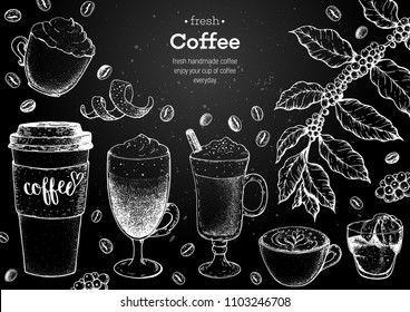 Coffee cups, beans and coffee tree illustration. Vintage design for coffee shop. Engraved vector illustration.