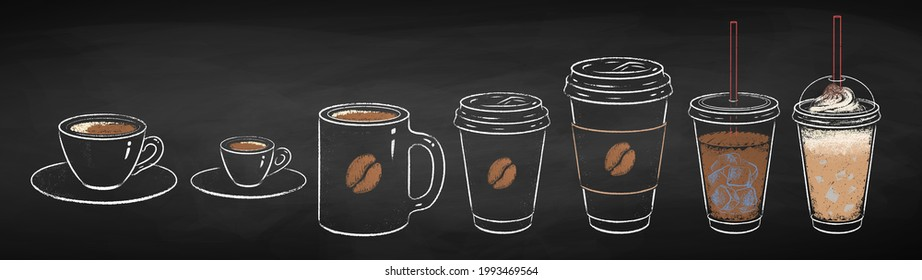 Coffee cups collection isolated on black chalkboard background. Vector chalk drawn sideview grunge illustration.