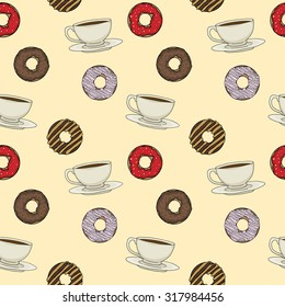 Coffee cups and donuts seamless pattern, vector illustration