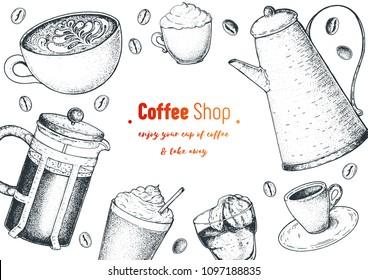 Coffee cups, french press, coffee pot and beans  illustration. Vintage design for coffee shop. Engraved vector illustration.