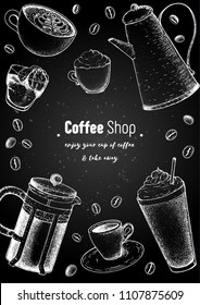 Coffee cups, french press, coffee pot and beans illustration. Vintage design for coffee shop. Engraved vector illustration. Vertical poster.
