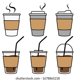 Coffee Cups to Go Vector Illustration Set on White