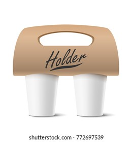 Coffee Cups Holder Vector. Realistic Mockup. Empty Packaging For Carrying. Two Cups. Hot Drink. Take Away Cafe Coffee Cups Holder Mockup. Isolated Illustration