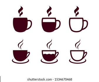 Coffee cups icon set. Vector illustration hot tea cup on white background