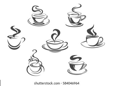 Coffee cups icons with vector aroma hot steam mugs of espresso, cappuccino, americano, ristretto or frappe, latte macchiato or hot chocolate drink. Isolated symbols for cafe menu or coffeehouse