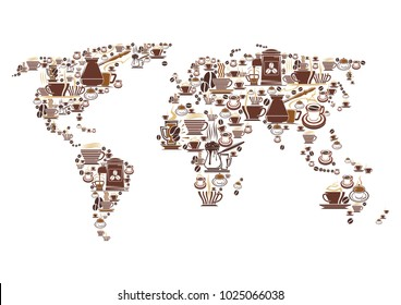 Coffee cups and coffee maker world map for coffeehouse, cafeteria or coffeeshop cafe design. Vector icons of hot steamy chocolate mug, espresso steam or coffee machine and grinder or Turkish cezve