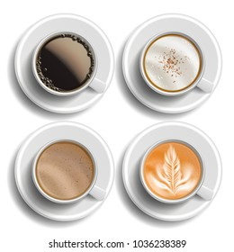 Coffee Cups Set Vector. Top View. Different Types. Coffee Menu. Hot Latte, Cappuchino, Americano, Raf Coffee. Fast Food Cup Beverage. White Mug. Realistic Isolated Illustration