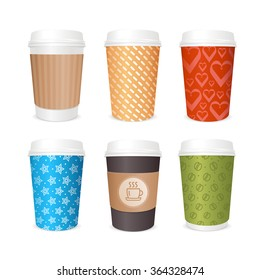 Coffee Cups Template Set Different Covers Vector Illustration