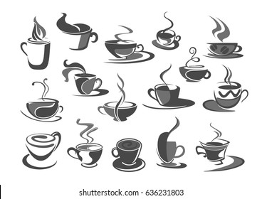 Coffee cups vector icons set for coffehouse, cafeteria or cafe templates or menu element. Symbols of hot chocolate mug with americano, frappe latte, strong espresso cup or macchiato for coffee shop.