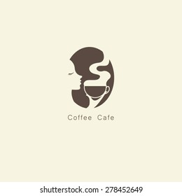 Coffee cups with women face logo vector.