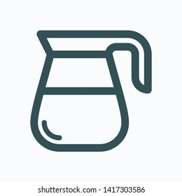 Coffee decanter isolated icon, coffee pot linear vector icon