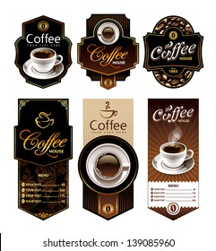 Coffee design banners. Menu and brand labels templates. Vector illustration.