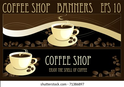 Coffee design banners, vector