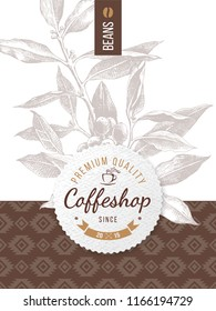 Coffee design with coffeshop round paper emblem. Vector illustration in retro style
