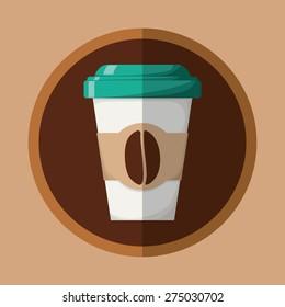 Coffee design over beige background, vector illustration.