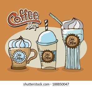 Coffee design over orange background, vector illustration