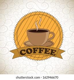 coffee design over pattern  background vector illustration