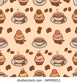 Coffee design seamless pattern in retro vintage style.