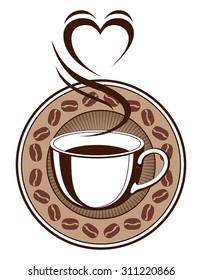 Coffee Design With Steaming Heart is an illustration of a design with a cup of coffee with steam coming off of it making the shape of a heart. Also includes a coffee bean ring and sunburst background.