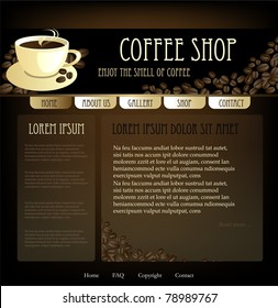 Coffee design website template, vector