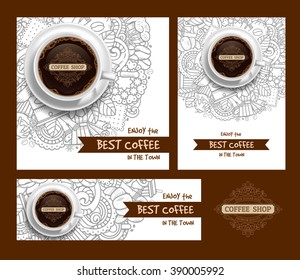 Coffee Designs Templates Set in Outline Hand Drawn Doodle Style with Different Objects on Coffee Theme.  Realistic Vector Coffee Cup on Center. Vector Illustration.