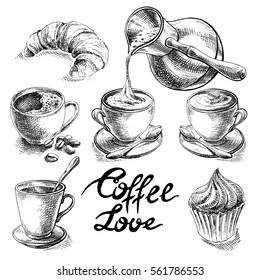 Coffee and desserts vector set illustration.