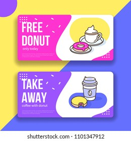 Coffee and donuts gift voucher template. Flat outline style vector illustration.